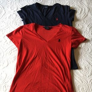 Red and blue Ralph Lauren polo tee shirts.